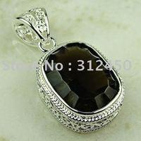 La moda de ventas calientes de joyería de plata joyería de piedras preciosas de cuarzo ahumado colgante libre LP0761 de envío (China (continental))