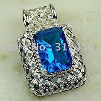Joyería de plata hechos a mano de piedras preciosas topacio azul suizo envío joyas gratis LP0796 (China (continental))