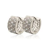 Pendientes de piedras preciosas, cobre, con aretes de platino plateado, aro pendientes CZ, Gastos de envío gratis (China (continental))