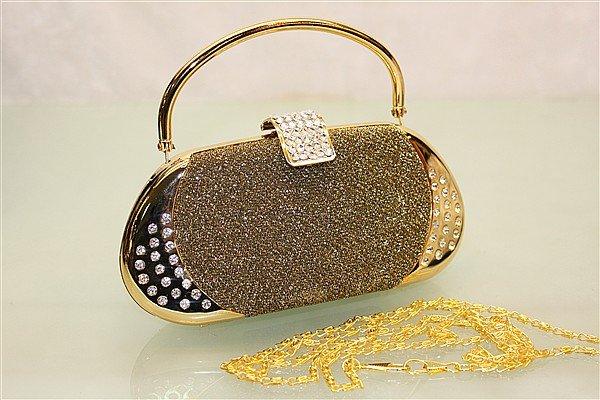 Gold Shiny crystal party bag handcraft dress bag Clutch Purse bride wedding handbag evening bags money - ~*~Bridal pouches~*~