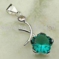 Joyas de plata Suppry hechos a mano verde amatista prsasiolite piedras preciosas joyas gratis LP0103 de envío (China (continental))