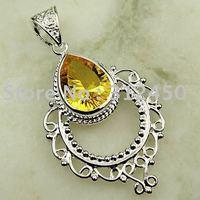 Joyas de plata caliente ventas hechas a mano de piedras preciosas Joyas con citrinos colgante envío gratis LP0104 (China (continental))