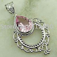 Joyas de plata caliente ventas hechas a mano de piedras preciosas de color rosa topacio colgante joyas gratis LP0112 de envío (China (continental))