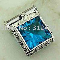 Joyas de plata caliente ventas hechas a mano de piedras preciosas topacio azul del océano joyería colgante envío gratis LP0117 (China (continental))