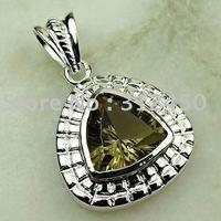 Joyas de plata caliente ventas hechas a mano de piedras preciosas de cuarzo ahumado colgante joyas envío gratis LP0110 (China (continental))