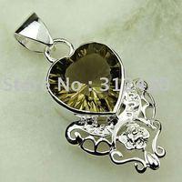 Joyería de moda de plata hechos a mano de piedras preciosas de cuarzo ahumado colgante joyas gratis LP0120 de envío (China (continental))