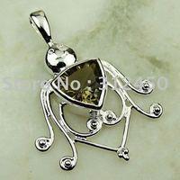 Joyería de moda de plata hechos a mano de piedras preciosas de cuarzo ahumado colgante joyas gratis LP0109 de envío (China (continental))
