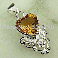 Joyería de moda de plata hechos a mano de piedras preciosas de Brasil citrino colgante joyas envío gratis LP0273 (China (continental))