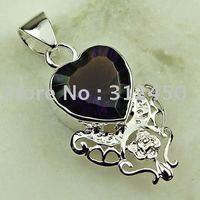 Moda joyería de plata hechos a mano de piedras preciosas la amatista colgante joyas gratis LP0111 de envío (China (continental))