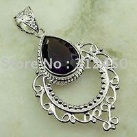 Moda joyería de plata hechos a mano de piedras preciosas la amatista colgante joyas gratis LP0113 de envío (China (continental))