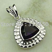 La moda de ventas calientes de joyería de plata hechos a mano, colgantes de piedras preciosas la amatista envío joyas gratis LP0268 (China (continental))