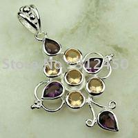 Suppry joyería de plata de moda joyería hecha a mano amatista colgante de piedras preciosas sin LP0272 de envío (China (continental))