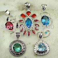 5 pices conjunto de joyas de piedras preciosas de plata colgante libre de envío N4220 (China (continental))