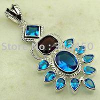 Moda de joyería de plata suizo topacio azul colgante de piedras preciosas joyas de envío gratis a LP0004 (China (continental))