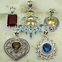 5 pices conjunto de joyas de piedras preciosas de plata colgante libre de envío N4221 (China (continental))