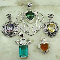 Wholeasle 5PCS conjunto de joyas de piedras preciosas de plata colgante libre de envío N4222 (China (continental))
