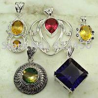 Wholeasle 5PCS conjunto de joyas de piedras preciosas de plata colgante libre de envío N4224 (China (continental))