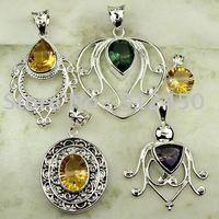 Moda conjunto 5PCS plata joyería de piedras preciosas colgantes envío gratis a N4226 (China (continental))