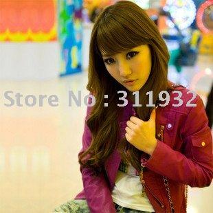 Fashion Womens Korea Sexy Leather Hot pink Ladies Jacket Coat leather ...