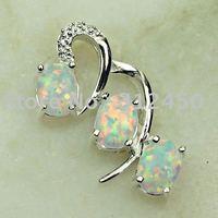 Joyas de plata Suppry hechos a mano blanco ópalo de fuego joyas de piedras preciosas envío gratis LP0508 (China (continental))