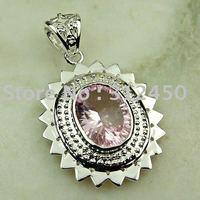 Joyería de plata hechos a mano de piedras preciosas de color rosa topacio colgante de joyería de envío gratis a LP0007 (China (continental))