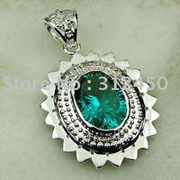Joyería de plata hechos a mano verde amatista colgante de piedras preciosas prasiolite envío joyas gratis LP0509 (China (continental))