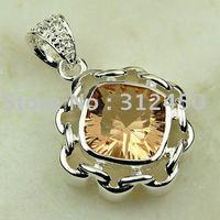 Joyería de plata colgante de piedras preciosas joyas morganita libre LP0501 de envío (China (continental))