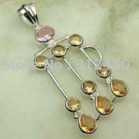 Joyería de plata colgante de piedras preciosas 5PCS morganita joyas de envío gratis a LP0007 (China (continental))