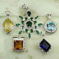 Moda conjunto 5PCS plata joyería de piedras preciosas colgantes envío gratis a N4247 (China (continental))