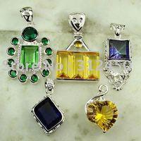 Moda conjunto 5PCS plata joyería de piedras preciosas colgantes envío gratis a N4249 (China (continental))