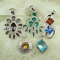 Moda 5PCS conjunto de joyas de piedras preciosas de plata colgante libre de envío N4250 (China (continental))