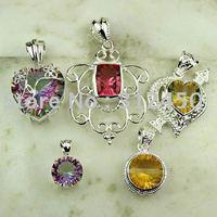 Moda conjunto 5PCS plata joyería de piedras preciosas colgantes envío gratis a N4251 (China (continental))