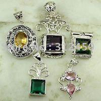 Moda 5PCS conjunto de joyas de piedras preciosas de plata colgante libre de envío N4252 (China (continental))
