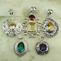 Moda conjunto 5PCS plata joyería de piedras preciosas colgantes envío gratis a N4257 (China (continental))