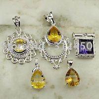 Moda conjunto 5PCS plata joyería de piedras preciosas colgantes envío gratis a N4258 (China (continental))