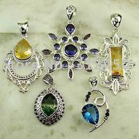 Moda 5PCS conjunto de joyas de piedras preciosas de plata colgante de envío gratis a N4263 (China (continental))