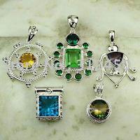 Moda 5PCS conjunto de joyas de piedras preciosas de plata colgante libre de envío N4262 (China (continental))