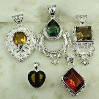 Moda 5PCS conjunto de joyas de piedras preciosas de plata colgante libre de envío N4264 (China (continental))