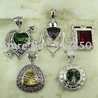 Moda 5PCS conjunto de joyas de piedras preciosas de plata colgante libre de envío N4270 (China (continental))