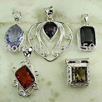 Moda 5PCS conjunto de joyas de piedras preciosas de plata colgante libre de envío N4271 (China (continental))