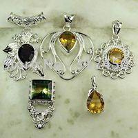 Moda 5PCS conjunto de joyas de piedras preciosas de plata colgante libre de envío N4272 (China (continental))