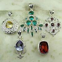 Moda conjunto 5PCS plata joyería de piedras preciosas colgantes N4273 envío gratuito (China (continental))
