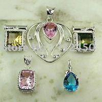 Moda conjunto 5PCS plata joyería de piedras preciosas colgantes envío gratis a N4275 (China (continental))