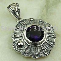 Joyería de moda de plata hechos a mano de piedras preciosas joyas de amatista libre LP0540 de envío (China (continental))