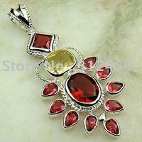 Joyería de moda de plata hechos a mano de piedras preciosas de color rojo Kunzite envío joyas gratis LP0530 (China (continental))