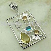 Suppry 5PCS wholeasle plata joyería de piedras preciosas citrino luz colgante joyas envío gratis LP0626 (China (continental))