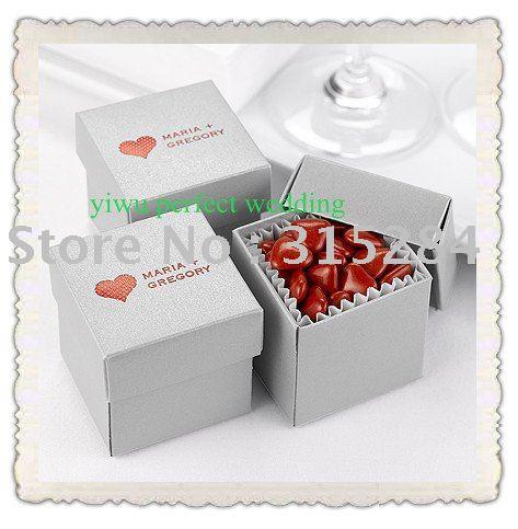 Hot 2PC Metallic Silver Wedding Favor Candy Boxes XY115h