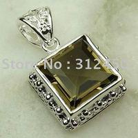 Joyas de plata caliente ventas hechas a mano de piedras preciosas joyas de cuarzo ahumado libre LP0024 de envío (China (continental))
