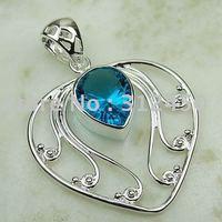 Suppry 5PCS joyería de plata hechos a mano de piedras preciosas topacio azul joyas gratis LP0010 de envío (China (continental))