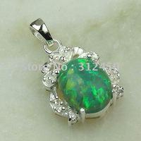 Joyería de moda de plata hechos a mano verde ópalo de fuego de piedras preciosas joyas gratis LP0062 de envío (China (continental))